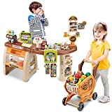 winwintom Play Cash Register Toys for Kids - Shopping Grocery Store Pretend Play Set with Shopping Cart and Scanner, Fun Super Market Pretend Play Toy, Home Supermarket Register Stand for Girls Boys