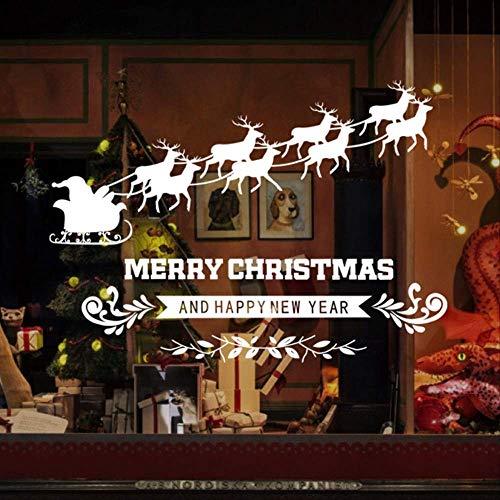 Muursticker Nieuwjaar venster decoratie kerst muurstickers, glassticker, slee hert Kerstmis muursticker