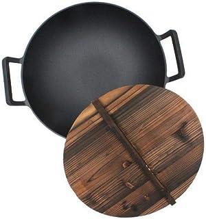 Midyvqd Engrosada Binaural Pasado De Moda De Hierro Fundido Wok/Sartén - Tradicional Hecha A Mano con Revestimiento Antiadherente Hierro Pot,B/withlid,32CM