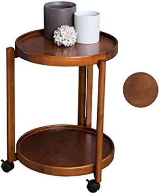 Round Coffee Table with Wheels Solid Wood Sofa Tea Cart Movable Sofa Simple Small Table Corner Flower Stand Living Room Shelf
