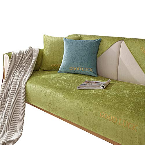 Cojín Suave de Chenilla Funda de sofá Minimalista Moderna Funda Antideslizante para sofá Cuatro Estaciones Fundas de sofá Fundas de sofá para Sala de Estar,Verde,90X90cm