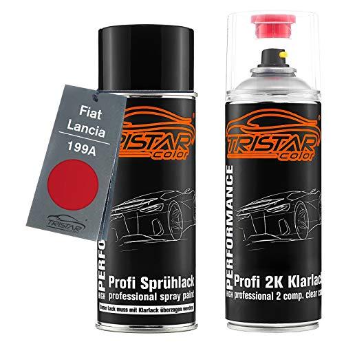 TRISTARcolor Autolack 2K Spraydosen Set für FIAT/Lancia 199A Rosso Tiziano/Rosso Faccia Da Schiaffi Basislack 2 Komponenten Klarlack Sprühdose