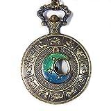 Moon Pocket Watch Antique Shining Star in Galaxy Vintage Zodiac Pocket Watch Necklace - Antique Moon Pocket Watch