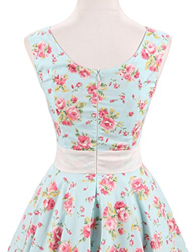 VKStar Retro Kleider Damen 50er 60er Vintage Kleider sommer ärmellos Rockabilly Abendkleid Hellgrün S - 4