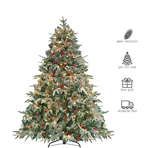 HOMAKER Pre-Lit 6ft Artificial Christmas Tree, Feel Real Snow Flocked PE Tree 450 Clear Lights UL Certificated, Red Berries