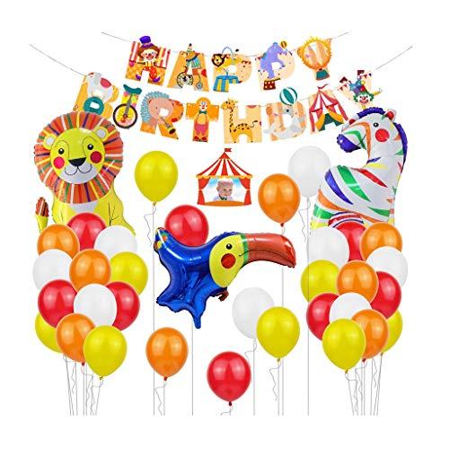 Decoraciones de Fiesta de cumpleaños Circo Cumpleaños temático Banner Barco Globos para Niños Niño Feliz Cumpleaños Decorar