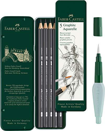 Faber-Castell Art und Graphic (Aquarelle Monochrome Set) inkl. Wassertankpinsel und Aquarellbleistifte Graphite Aquarelle, Inhalt HB, 2B, 4B, 6B, 8B