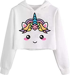 Girls Unicorn Hooded Crop Tops Jackets Kids Cute Plaid Sweatshirts Fall Clothes 3-9 T