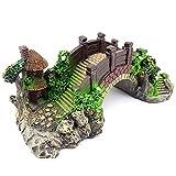 Varadyle Decoración del Acuario Modelo de Puente de Arco de Resina, Decoración del Acuario Puente de la Casa del árbol Decoración del Tanque de Peces