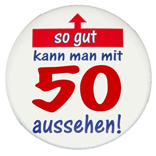 MakenGO über Santa Fe Express 50. Geburtstag Button: So gut kann Man mit 50 Aussehen – Grosser Vintage Premium Sticker, Ø 57 mm, HighRes Druck, Brillante Farben, mit Schutzlaminierung vorne