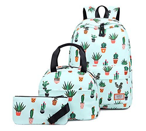 Joymoze Bolso para Libros Resistente al Agua para Niña Adolescente con Bolsa de Almuerzo y Estuche Cactus