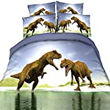 EsyDreamhome Jurassic Period - Juego de ropa de cama para hombre, diseño de dinosaurios en 3D, 3 piezas, sin colcha, color 3
