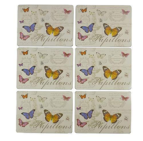 6 x Français papillon orange jaune rose bleu crème liège Set de table L9 \