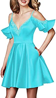 Botong Short Homecoming Dress Beaded Spaghetti Strap Wedding Party Gown with Pockets