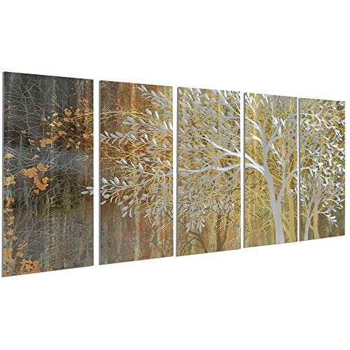 NdcSkyArt Extra Large Gold Tree Metal Art Wall Decor, Abstract Wall Sculpture Hangings with 3D...