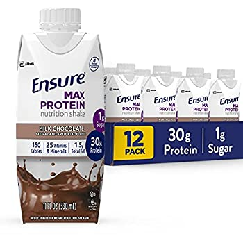 Ensure Max Protein Nutrition Shake with 30g of Protein 1g of Sugar High Protein Shake Milk Chocolate 11 Fl Oz 12 Count