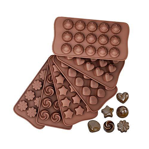 Pralinenform Silikon Backform Schokoladenform 6er Set, Silikonform Mini Antihaft Backformen für Schokolade Praline Fondant Süßigkeiten Eiswürfel, Schokoladenformen Klein Diy Chocolate Mold Trüffelform