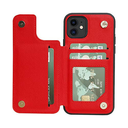 ACXLIFE iPhone 11 Case 11 Wallet Credit Card Holder Case,Protective Cover with Card Slot Holder and Leather Case for iPhone 11 6.1Inch (red)