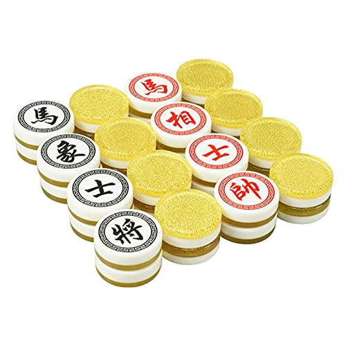 SASAU Chinese Chess Wood Box 32Pcs/Set Old Game of Go Xiang Qi International Checkers Folding Toy Gifts Diameter=3.5cm (Color : Yellow Gold)