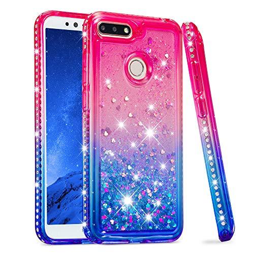 COTDINFOR Coque Liquide pour Huawei Y6 2018 Flowing Bing Glitter Dimond Silicone Housse Dégradé de Couleur TPU Antichoc Souple Coque pour Huawei Y6 2018 TPU Liquid Pink Blue YB.