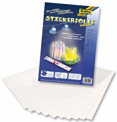 folia 490230 - Stickerfolie, selbstklebend, farblos, ca. 23 x 33 cm, 10 Bogen - ideal als Schutz, Verstärkung oder Trägermaterial