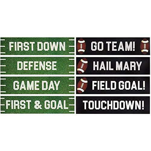 Football Party Decorations, Cutout Signs for Sports and Tailgate Parties (4x17 Inches, 8 Pack)