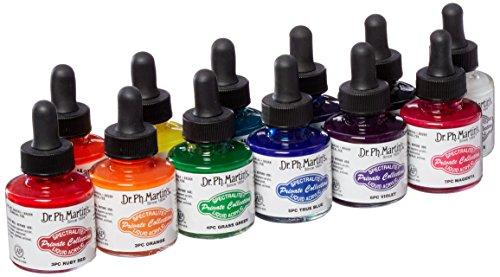 Dr. Ph. Martin's Spectralite Private Collection Liquid Acrylics (Set 1) Acrylic Paint Set, 1.0 oz, Set 1 Colors, 1 Set of 12 Bottles