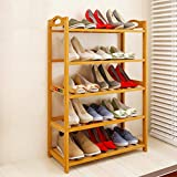 Livzing 5-Tier Multiuse Bamboo Wooden Shoe Rack Slipper Stand Chappal Shelf Household Storage