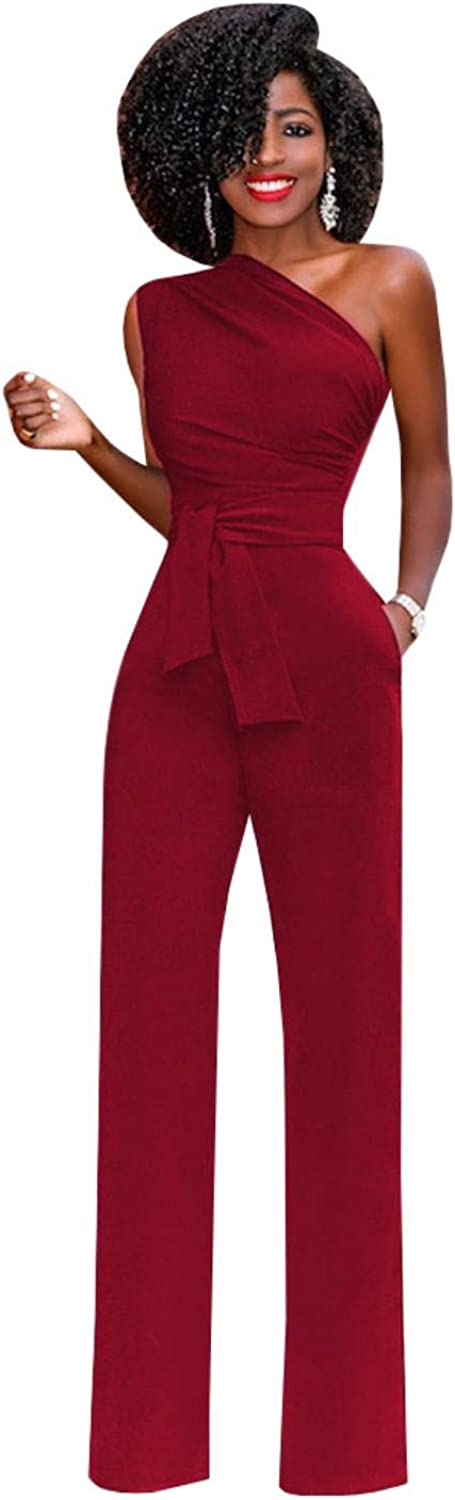 Rompers Womens Sexy One Shoulder Sleeveless Jumpsuit