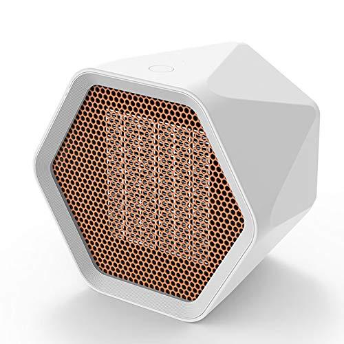 XINGYUE Ventilador de calentador eléctrico, 600/1000W Mini calentador eléctrico Control de temperatura Hexagonal Escritorio Calefactor Calentador de aire Ventilador de oficina en casa (blanco)