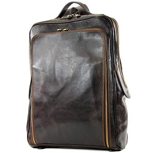 modamoda de - A013 - ital. Laptop Herren Rucksack aus Leder, Farbe:A013 Dark Chocolate