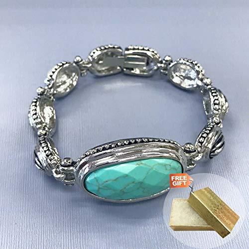 amazon collection inspired silver bracelets Unique Silver Finish Designer Inspire Turquoise Design Box Clasp Bangle Fashion Jewelry Bracelet For Women