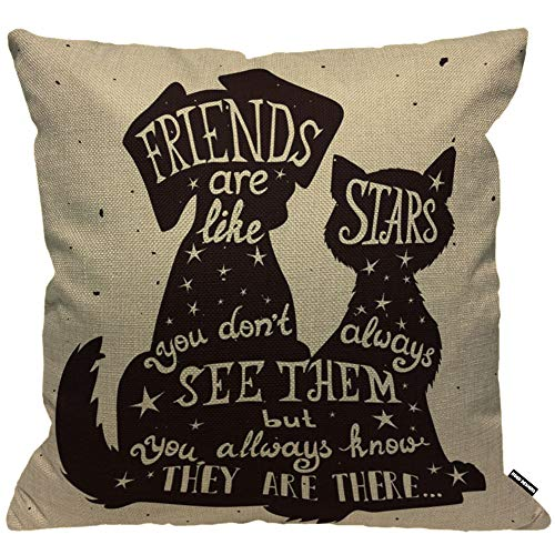 HGOD DESIGNS Cushion Cover Dog And Cat Inside Best Friend Quote Quote Friends Are Like Stars Pillow Cover Home Decorative for Men/Women/Boys/Girls living room Bedroom Sofa Chair 18X18 Inch Pillowcase