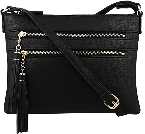B BRENTANO Vegan Multi-Zipper Crossbody Handbag Purse with Tassel Accents (Black 1)