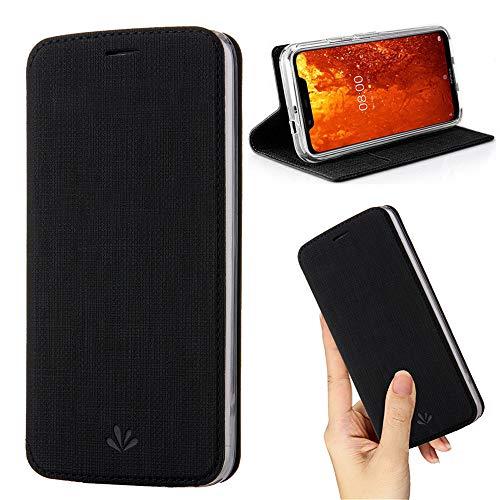 weier Nokia 8.1 hülle Premium Leder Flip Tasche Clear TPU Bumper Hülle mit Kartensteckpl schützen & Ständer Wallet Slim Fit dünn Schutzhülle für Nokia 8.1 (Nokia 8.1, 1Black)