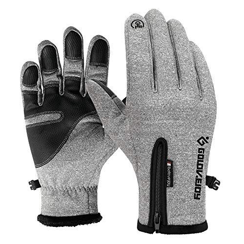 Winter Warm Touch Screen Gloves Outdoor Sports Waterproof Windproof Gloves Men Women(Grey-L)