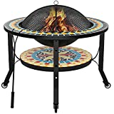 """Mecor Fire Pit with Cooking Grate & Wheels, 28"""" Round Mosaic Fire Pits Outdoor Wood Burning, Steel BBQ Grill Firepit Bowl with Spark Screen Cover Log Grate Fire Poker, Adjustable Three Height"""