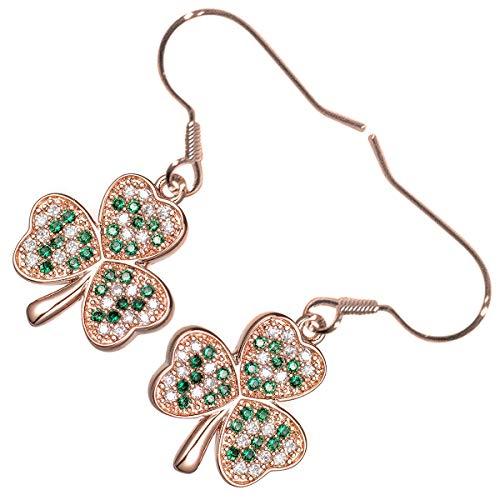GWG Jewellery Pendientes Mujer Regalo Pendientes Colgantes, Chapados en Oro Rosa 18K Flor de Shamrock Trébol Celta Incrustado con Circonitas de Color Esmeralda Verde para Mujeres