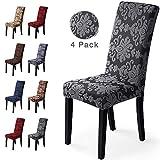 Fundas para sillas 4 Piezas Funda de Silla Comedor Stretch Cubiertas para sillas Extraíble Lavable...