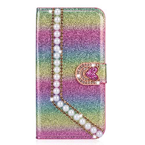 Miagon Hülle Glitzer für Samsung Galaxy A11,Diamant Strass Perle Herz PU Leder Handyhülle Ständer Funktion Schutzhülle Brieftasche Cover,Regenbogen Rosa