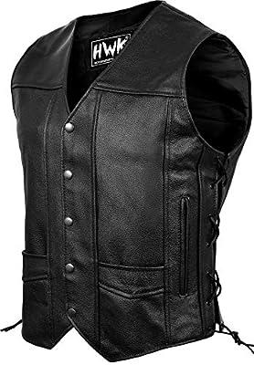 Leather Motorcycle Vest For Men Black Classic Vintage Club Riding Biker Vests With Concealed Gun Pocket (M) by HWK