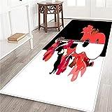PATINISA Alfombra Larga Decorativa de Lujo Hermoso Vestido de niña española Volantes Rosas Abanico Baile Flamenco Guitarra Grande sobre Fondo Blanco y Negro alfombras Extra Suaves y cómodas para