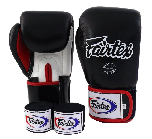 Fairtex Guantes de Muay Thai bgv1Blanco y Negro Rojo y guantes handwraps Tamaño: 10121416oz guantes de boxeo y multiusos para Kick Boxing MMA k1Tight Fit diseño