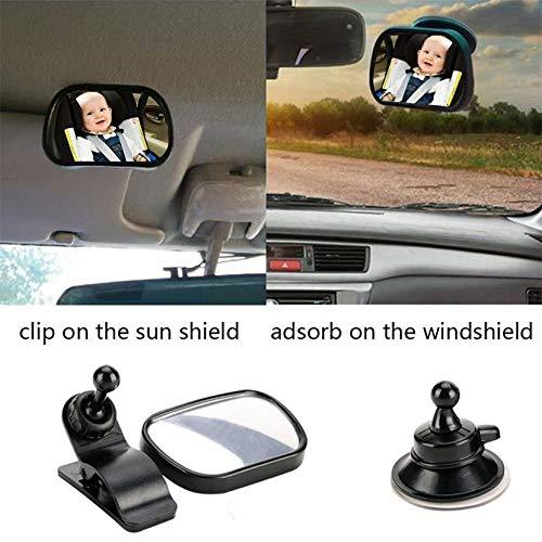 Monrodbitt 2 en 1 asiento de coche del espejo retrovisor interior ajustable universal del plástico para la seguridad del niño del bebé con el clip y el lechón