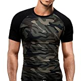 NPRADLA T-Shirt Militaire Camouflage O-Cou Manches Courtes Tees Hommes Femmes Impression Tees Chemise Court Manche T-Shirt Chemisier