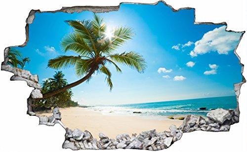 DesFoli Beach Strand 3D Look Wandtattoo 70 x 115 cm Wanddurchbruch Wandbild Sticker Aufkleber C321