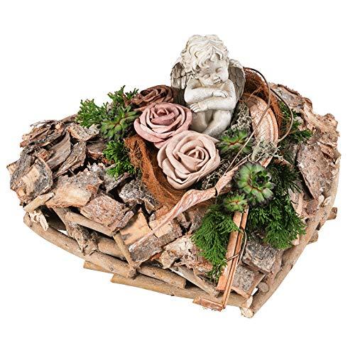Dehner Grabgesteck Melba, herzförmig, handgefertigt, Länge ca. 35 cm, Naturmaterialien, braun/grün/beige