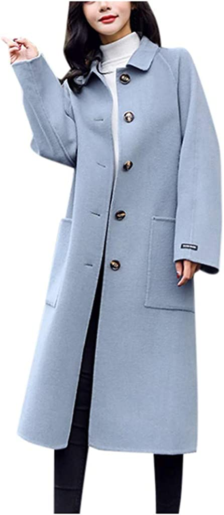 Button Woolen Jacket Women Max 61% OFF Work Max 69% OFF Office Solid Winter Vintage Long