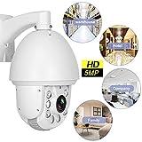 Jacksking Telecamera di Sicurezza, 5MP HD 30X Zoom PTZ Telecamera coassiale CCTV 6 LED Sistema di sorveglianza IP Telecamera di Sicurezza Supporto per ONVIF, IP66 Impermeabile(Spina Europea NTSC)