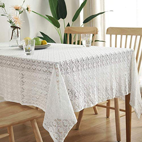 JLYZB Vintage Flower Lace Tafelkleed, geborduurde tafelkleedje Tabletop decoratief tafellinnen voor bruiloft, banket, bruidsshower-wit 150x200cm (59x79inch)